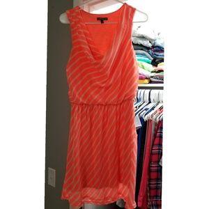 Womens Orange and White Stripe Drape Neck Dress